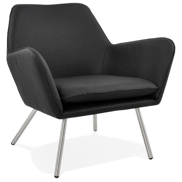 Alterego Fauteuil lounge design 'AMERIKA' en matière synthétique noire