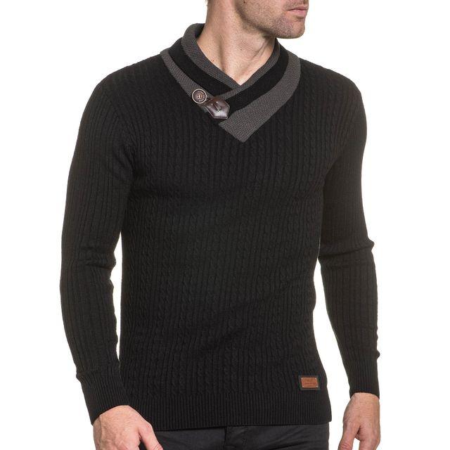 f354fa9066fbd BLZ Jeans - Pullover homme fine maile noir col châle - pas cher ...