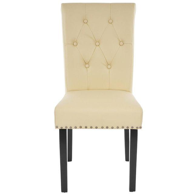 6x chaise de salle à manger Chesterfield Ii, fauteuil avec rivets, similicuir crème, pieds foncés