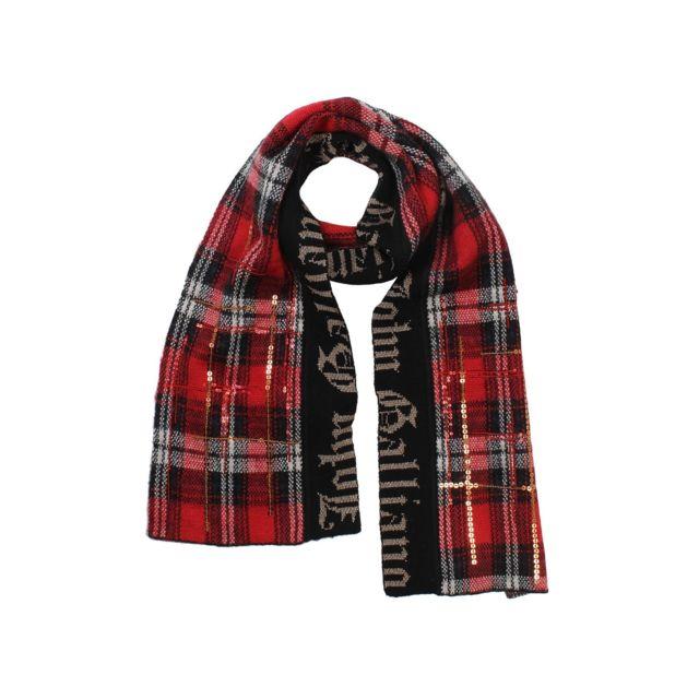 1aaa3115b6b7 John Galliano - Écharpe écossaise fille - Rouge - pas cher Achat   Vente  Echarpes, foulards - RueDuCommerce