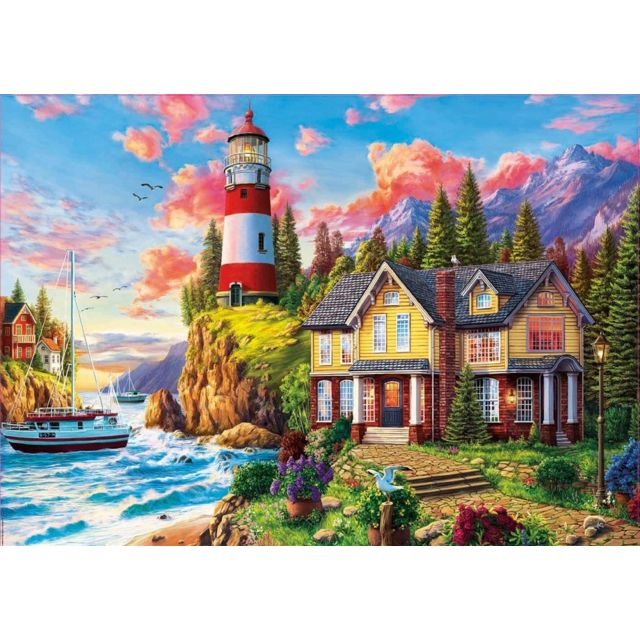 Educa Puzzle Adulte 3000 Pieces Paysage Phare et Maison au bord de la Mer - Collection Ocean