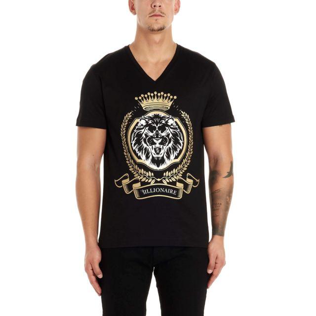 Billionaire Couture Homme Mtk4208BTE014N02 Noir Coton T-shirt