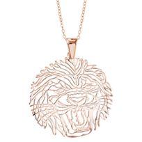 1001BIJOUX - Collier argent dorure rose gros pendentif tête de lion 40+10cm