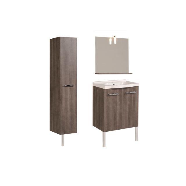 Ensemble miroir + vasque + meuble sous vasque + colonne coloris réglisse