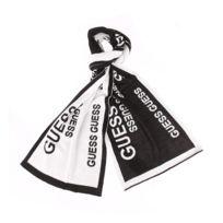 c981496fee7b Guess - Echarpe noire à bords blancs et monogrammée en blanc réversible