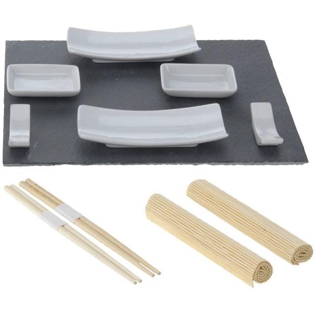 Set sushi - 11 pièces - Ardoise noir
