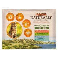 Iams - Naturally Humide Terre & Mer en sauce - Toutes races - 4x85 g - Pour chat adulte