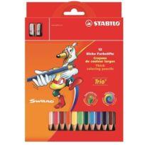 Stabilo - Etui carton de 12 Crayons de couleur Trio