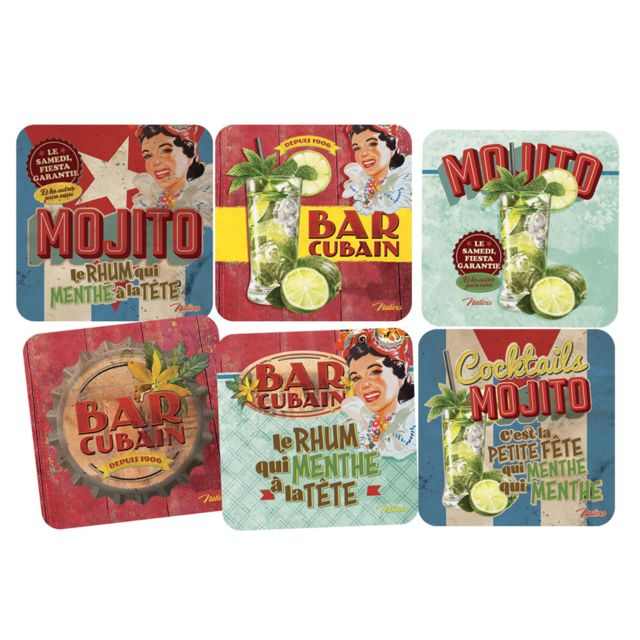 Natives Set de 6 sous-verres Mojito