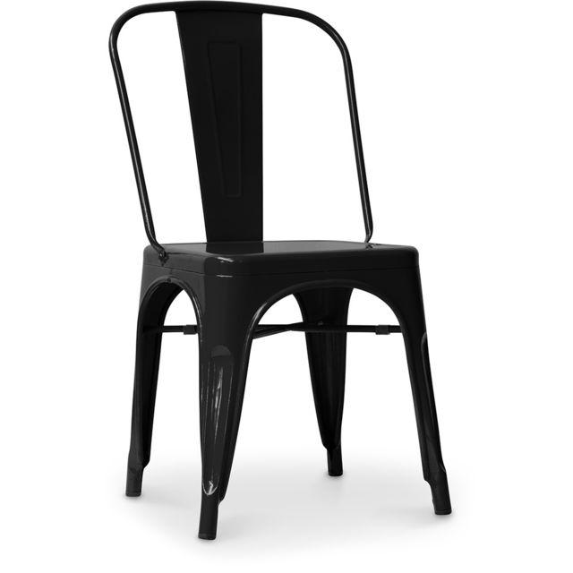Privatefloor Chaise style Tolix - Siège carré - Métal