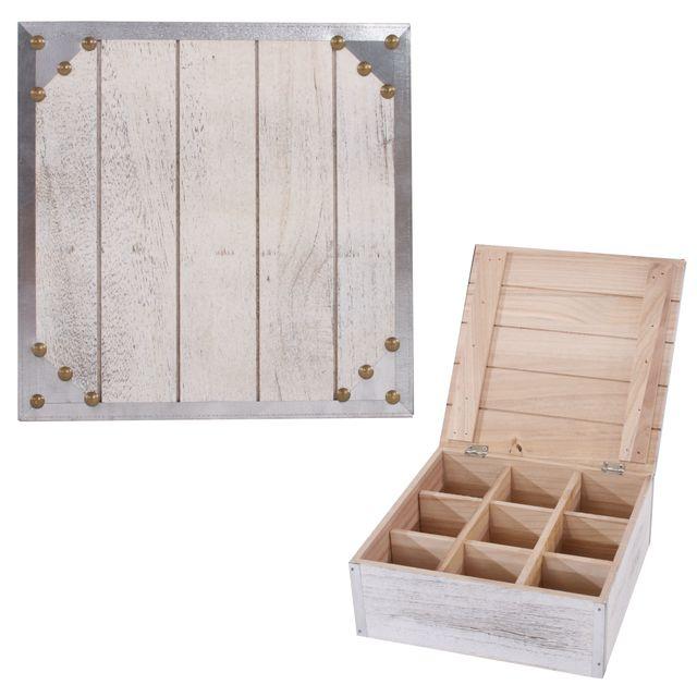 Mendler 2x boîte de rangement / boîte à chaussettes / bijoux / thé, 24x10x24cm, shabby chic, vintage, blanc