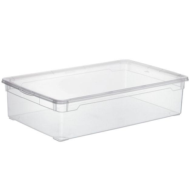 carrefour boite de rangement basic box dessous lit 30l 4047026 transparente pas cher. Black Bedroom Furniture Sets. Home Design Ideas