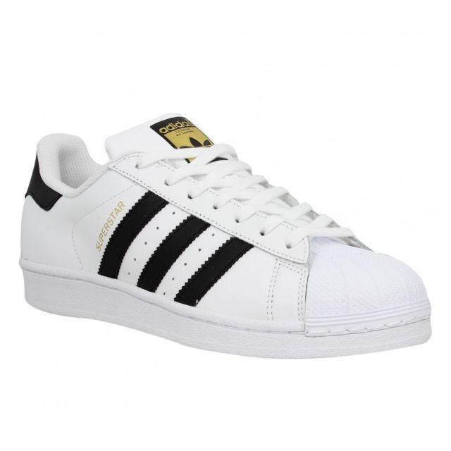 Adidas Superstar cuir Homme 42 23 Blanc + Noir pas cher