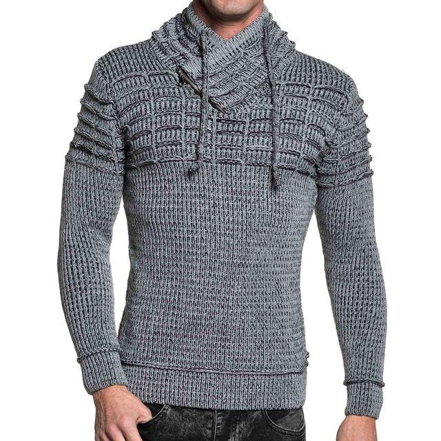 3fc7ff493b64 BLZ Jeans - Pull côtelé gris et noir homme col châle - pas cher ...