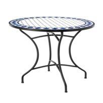 Table de repas ronde Fer/Céramique blanc et bleu - Mirihi