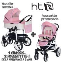 B&W - Poussette Combinée Duo 2 en 1 HT2 2018 - Landau / nacelle + poussette promenade / hamac - Nombreux coloris - Livrée avec ses accessoires