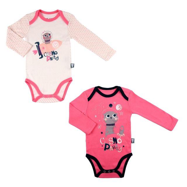 Petit Beguin - Lot de 2 bodies bébé fille manches longues Cosmo Party -  Taille - 2e3ff9d7f47