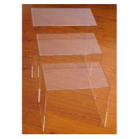 HOMCOM - Table basse gigogne acrylique lot de 3 tables transparentes 84
