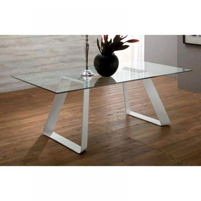 Inside 75 Melodie Ii Table repas plateau en verre piétement blanc