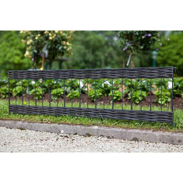 Windhager - Bordure de jardin en résine tressée ajourée et métal ...