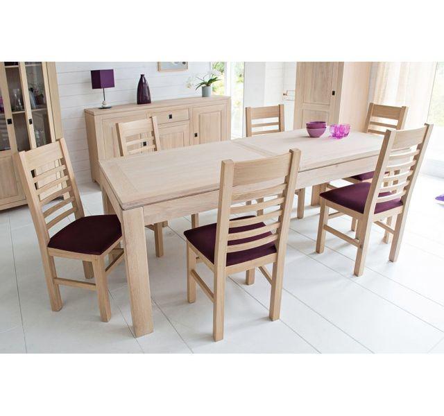 HELLIN Table moderne extensible BOSTON - bois chêne blanchi massif