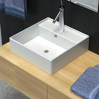 Rocambolesk - Superbe Luxueuse vasque céramique carrée avec trop plein 39 x 39 cm neuf