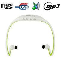 Yonis - Casque sport sans fil lecteur Mp3 audio Micro Sd Running vélo Vert