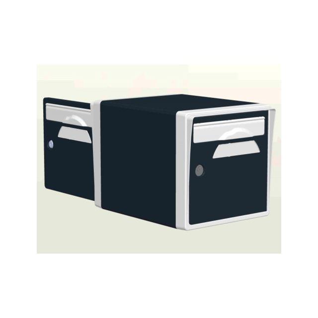 creastuce boite aux lettres 2 portes gris anthracite blanche 07 df pas cher achat vente. Black Bedroom Furniture Sets. Home Design Ideas