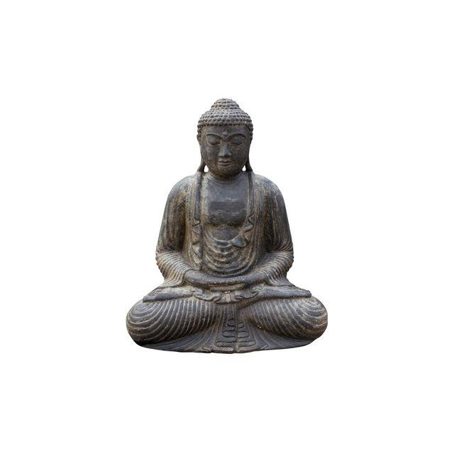 statue bouddha japonais 30 cm pierre reconstituee antique pas cher achat vente rueducommerce. Black Bedroom Furniture Sets. Home Design Ideas