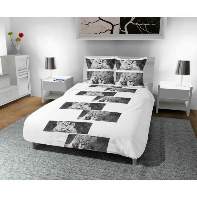 terre de nuit parure de lit microfibre lions blanc 240x220 240cm x 220cm pas cher achat. Black Bedroom Furniture Sets. Home Design Ideas