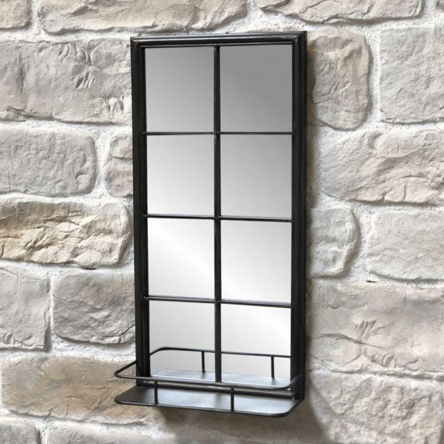 Chemin De Campagne Miroir Industriel Miroir Fenêtre Miroir Tablette Étagère 80 cm x 40 cm x 15,50 cm