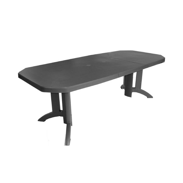Table de Jardin Vega avec Allonge Anthracite 220 x 100 cm