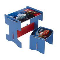 Comforium - Petit bureau enfant avec tabouret Disney Cars bleu et rouge