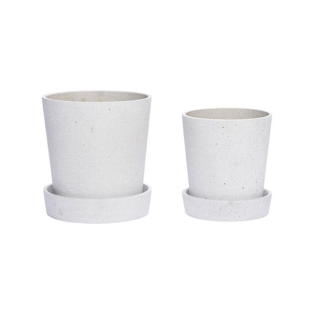 Hubsch Set 2 Cache Pots Blanc Avec Soucoupe Pas Cher Achat