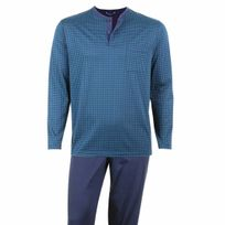 Eminence - Pyjama long en jersey de coton mercerisé : tee-shirt col tunisien bleu marine à motifs verts, pantalon bleu marine
