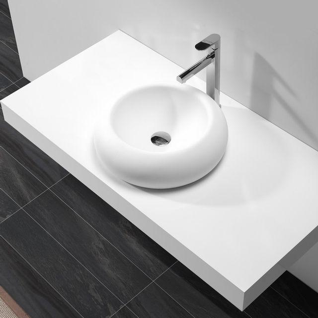 vasque galet Rue Du Bain - Vasque à Poser Galet - Solid surface Blanc Mat - 45 cm