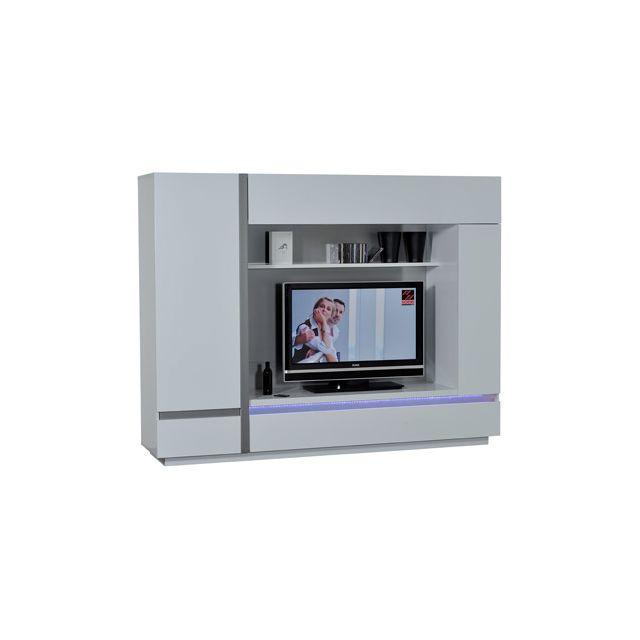Meuble Tv 4 portes+leds+bandeau réversible coloris blanc laqué