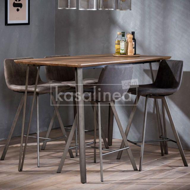 Kasalinea Table haute couleur bois et métal Cambridge