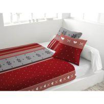 Marque Generique - Parure de lit 4 pièces en flanelle Neige Rouge 2  personnes 23ff7f6d3f06