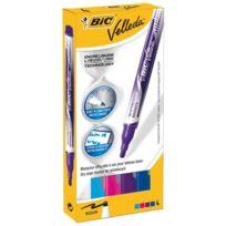 Velleda - Marqueur effaçable Bic encre liquide pointe ogive moyenne 2,2 mm - Boîte de 4 coloris fun