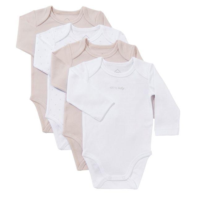 92beef1200d83 TEX BABY - Lot de 4 bodies bébé en coton manches longues - pas cher ...