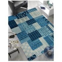 LUXOR - Tapis CORBODA PATCH Bleu Tapis Moderne par bleu 70 x 140 cm
