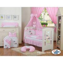 Autre - Lit et parure de lit bébé âne rose ciel de lit coton 120 60