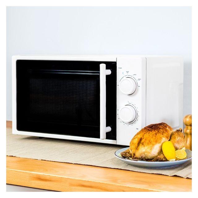 Micro-ondes blanc à plateau intérieur rotatif - Four micro onde cuisine