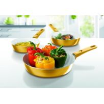 Gourmet-Maxx - Poêles double revêtement céramique à bords hauts - Poignées amovibles - Lot de 3 - Tous feux dont induction - Edition Or
