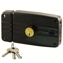 0f328c2e54d City - Serrure en applique à fouillot Horizontale Tirant Gauche Noir 3 clés  plates Cylindre porte