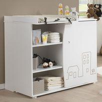 Galipette - Commode 3 tiroirs + plan _Agrave_ langer en bois blanc avec motifs Little Town