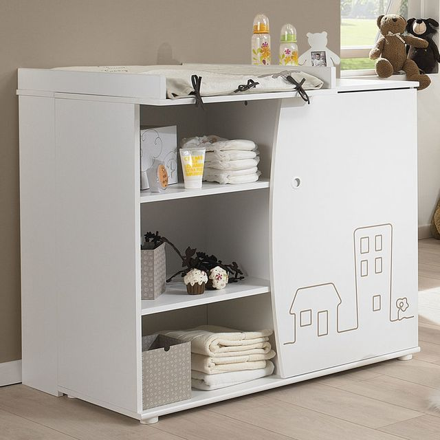 Galipette - Commode 3 tiroirs + plan à langer en bois blanc avec ...