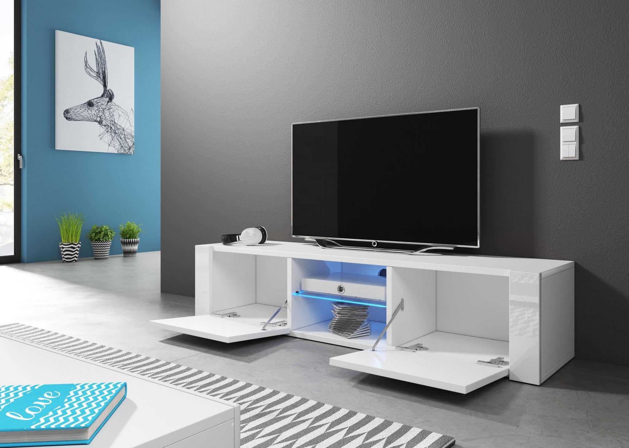 Hit Meuble Tv Design blanc mat avec blanc brillant. Eclairage à la Led bleue