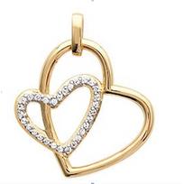 Collection Zanzybar - Pendentif plaqué or deux coeurs enlacés avec strass Modèle Amour